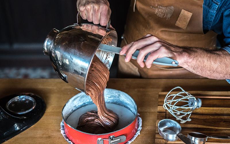 Chocoladetaart met bosbessenmousse