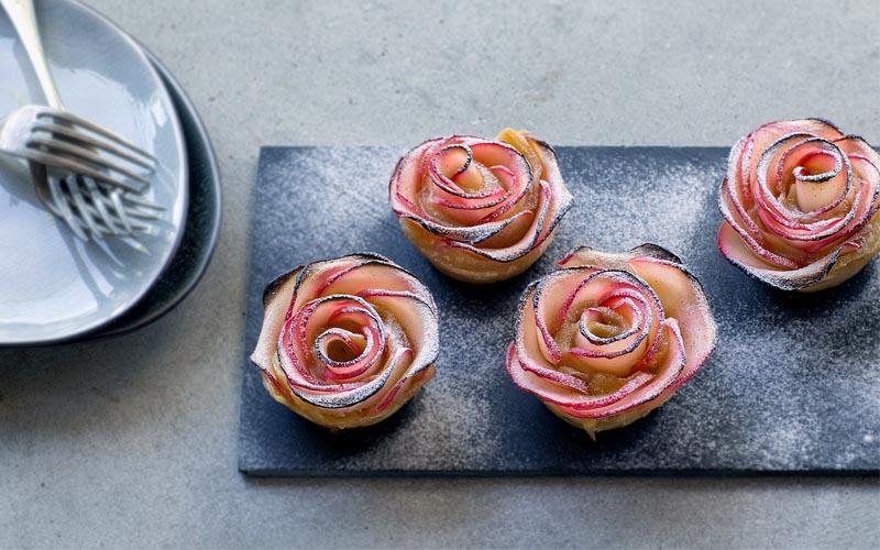 Apfeltörtchen in Rosenform