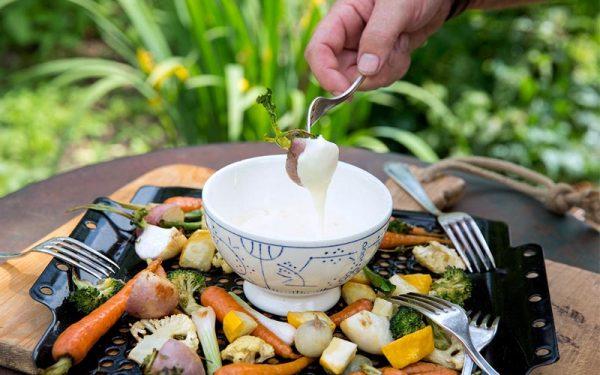 Kaasfondue met gegrilde groenten