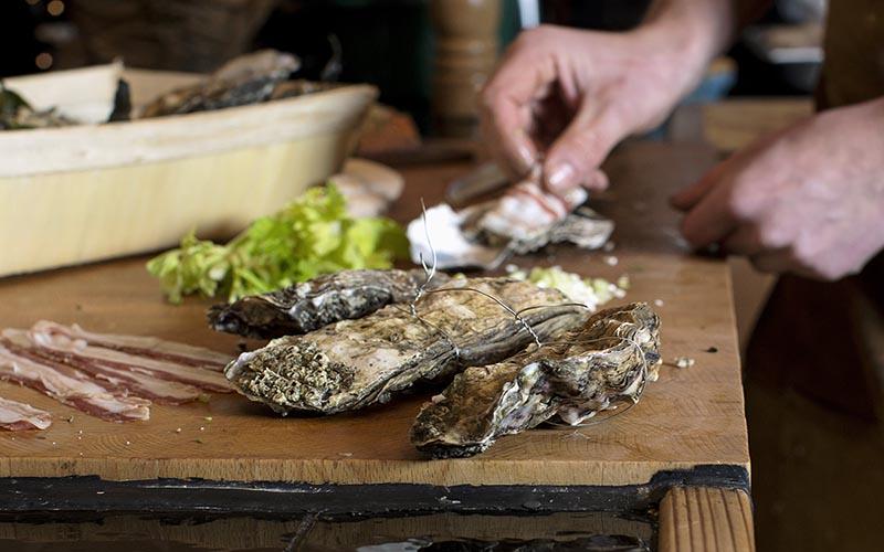 Austern mit Pancetta