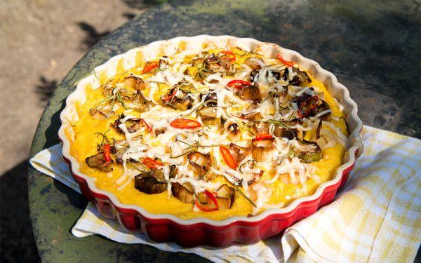 Polentataart met prei en Parmezaanse kaas