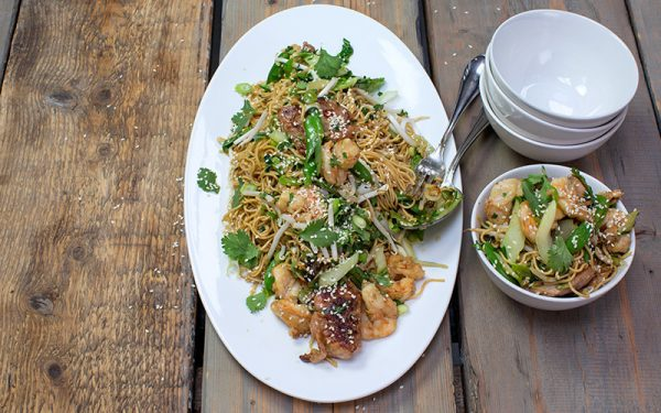 Noodles with bok choy, chicken and shrimp