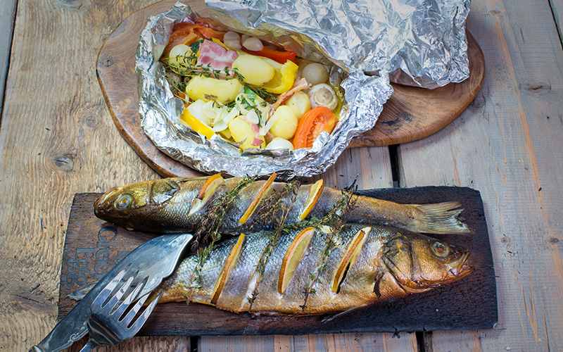 Smoked sea bass with steamed vegetables