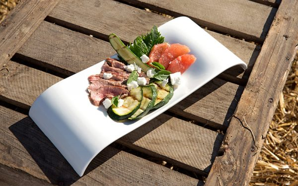 Grilled lamb, courgette and grapefruit salad