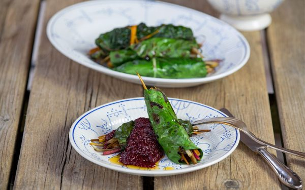 Chard rolls with a toast beetroot salsa