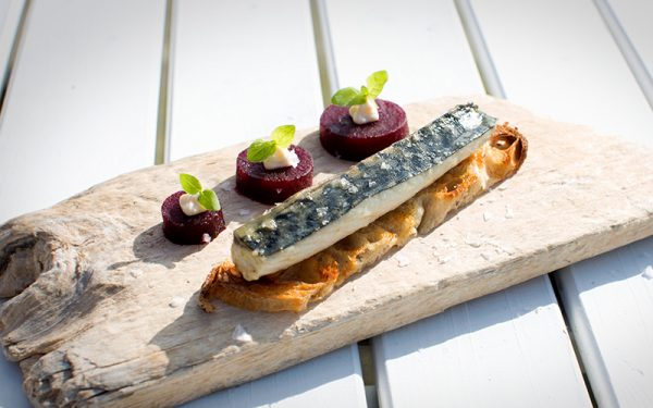 Mackerel cooked in smoked butter on toast with beetroot and horseradish