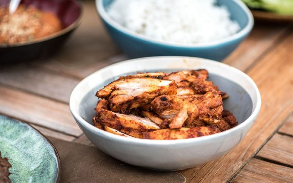 Dahk galbi, marinated, grilled chicken thighs with ssamjang paste