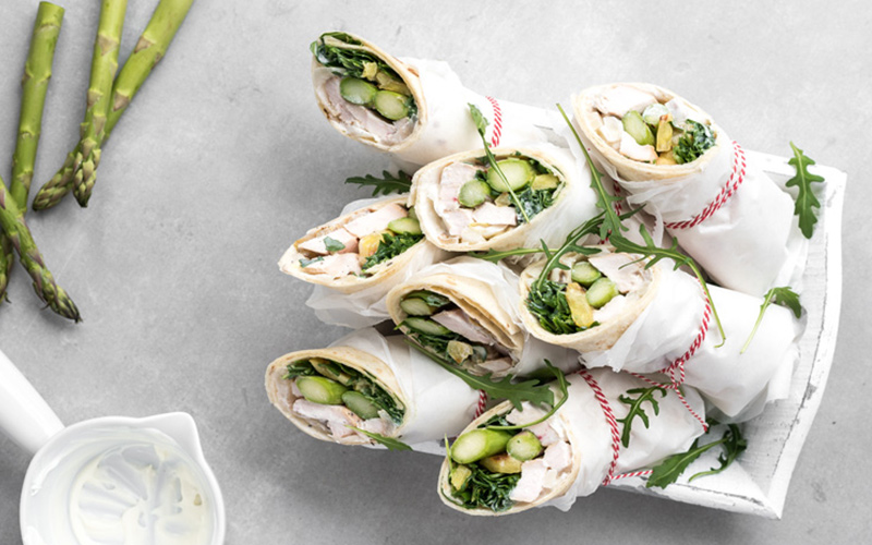 Big Green Egg Wraps with grilled vegetables and smoked chicken
