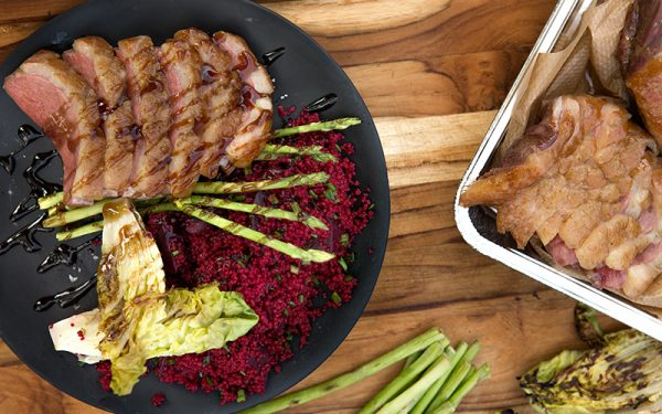Big Green Egg Smoked duck breast with couscous salad, red beetroot and grilled vegetables