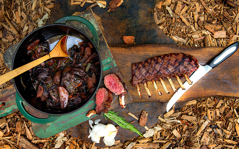 Big Green Egg Grilled rack of venison with stewed venison cheeks