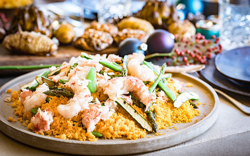 Couscous salad with lobster and grilled vegetables