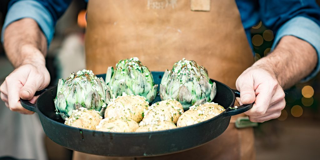 Roasted whole artichokes with herb oil