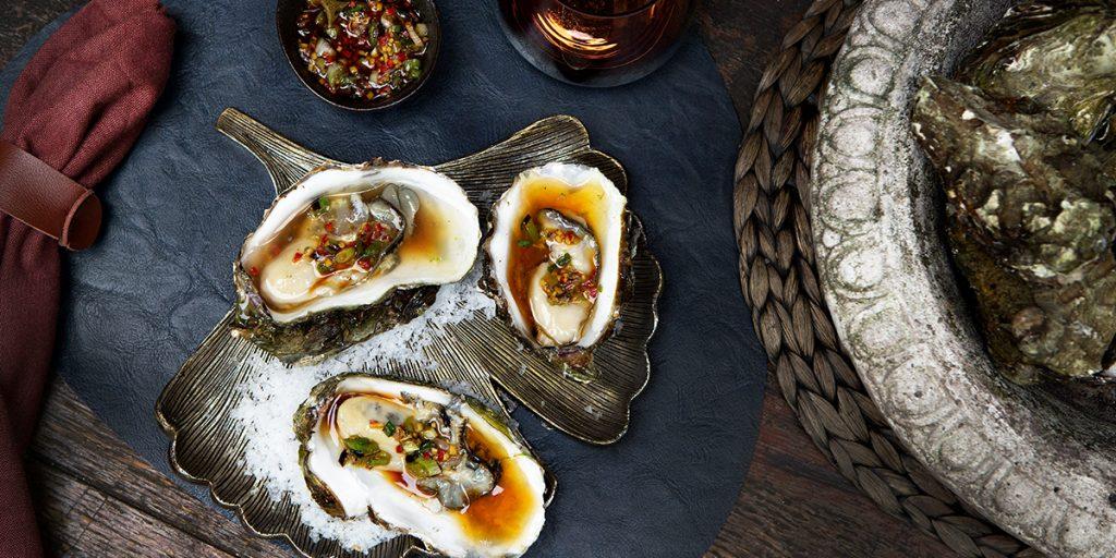 Gegrilde oesters met Thaise dressing