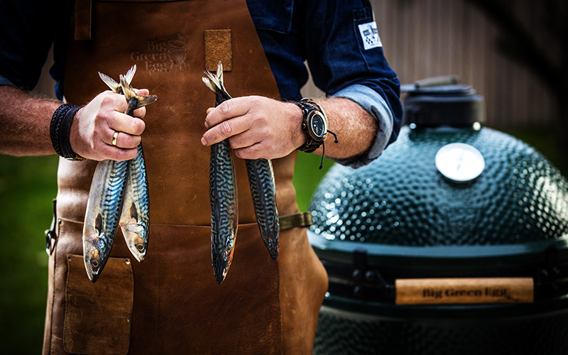 steaming mackerel on the Big Green Egg
