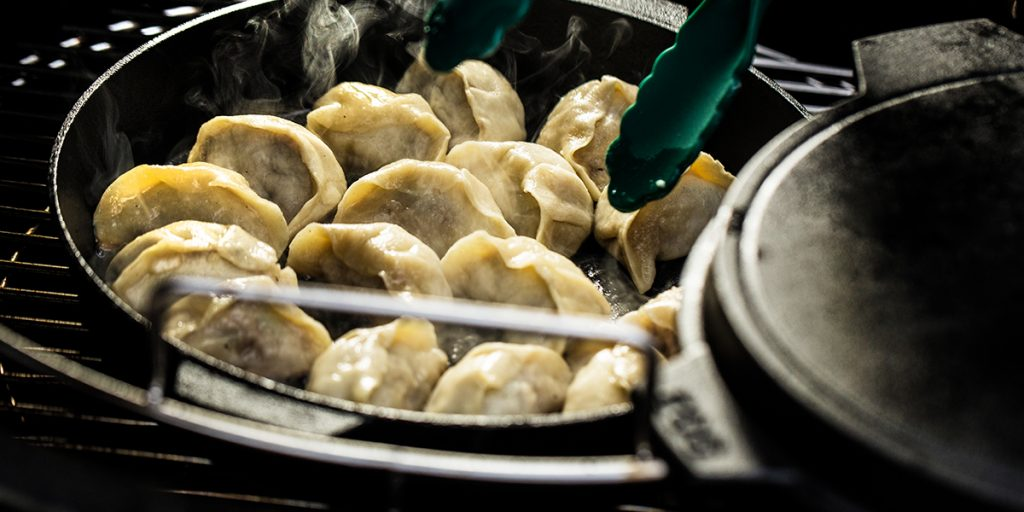 steaming dumplings in the Big Green Egg