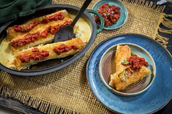 Enchilada's met chorizosaus