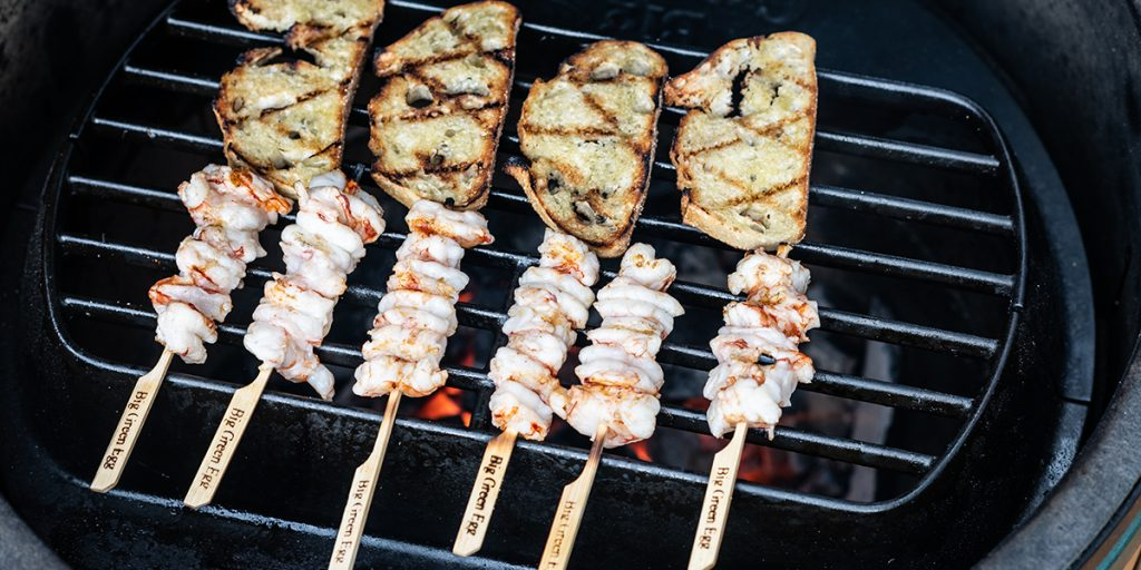 Prawn skewers from the Big Green Egg
