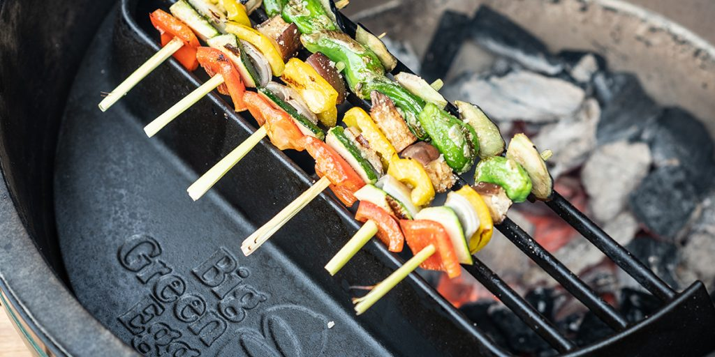 Provençal vegetable skewers from the Big Green Egg