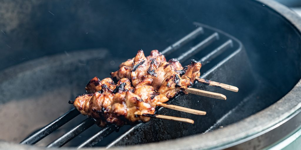 Chicken satay from the Big Green Egg