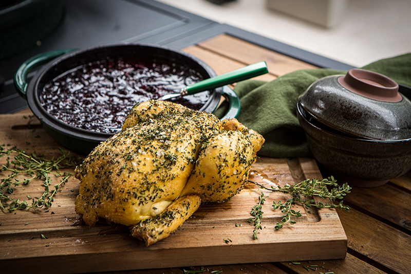 Roasted whole chicken with red fruit sauce