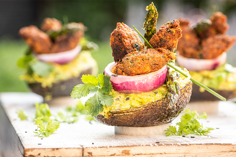 Grilled avocado salad with crispy falafel
