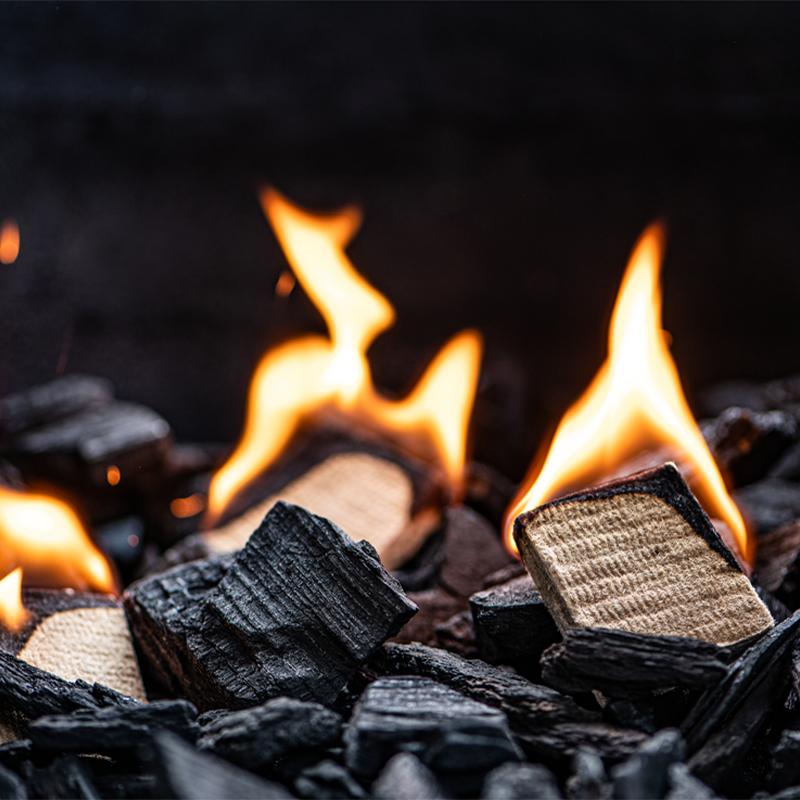 Houtskool aansteken