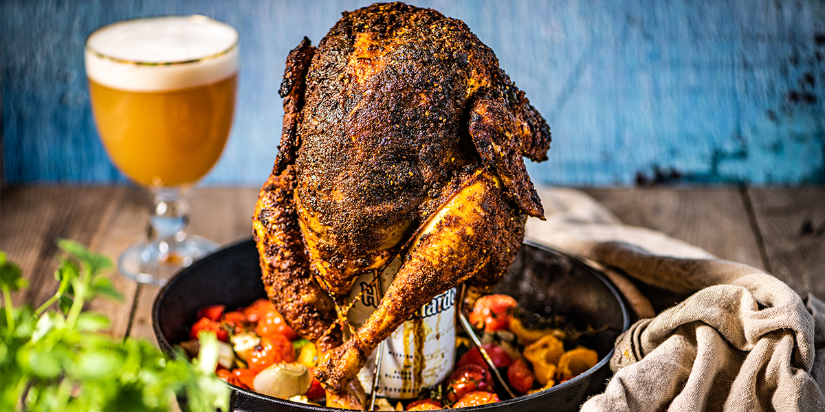 Beer can chicken met witbier